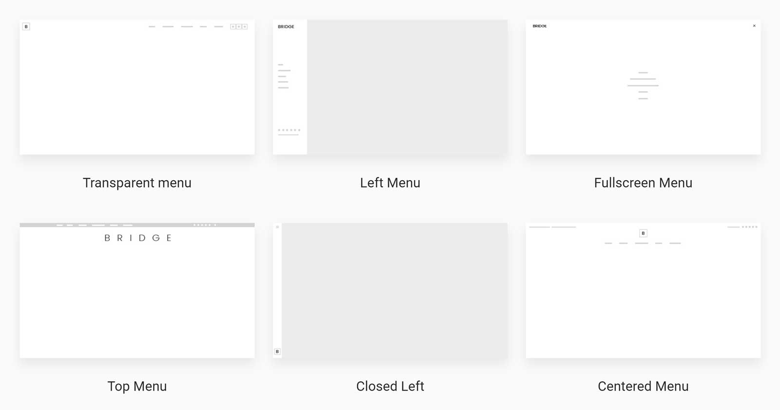 Bridge Menu Layouts