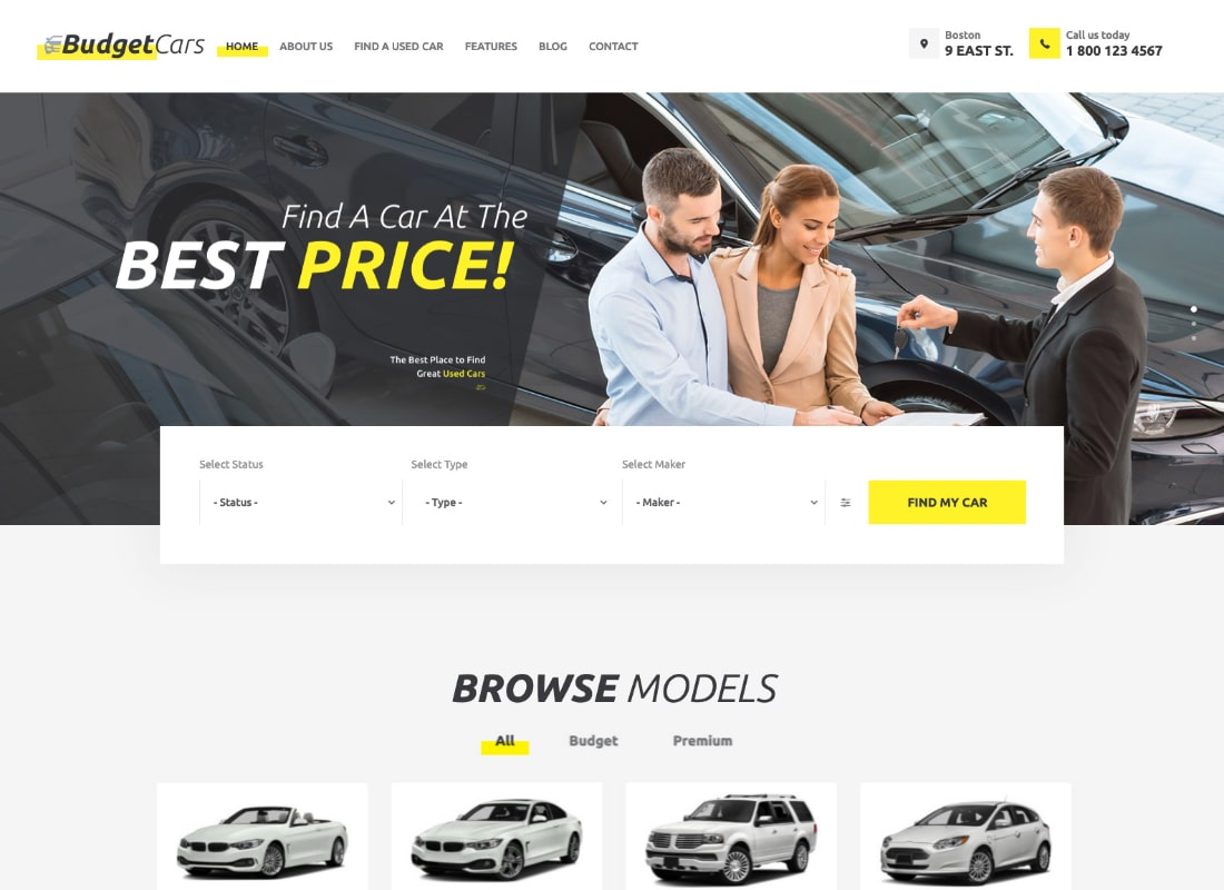 Budget Cars | Used Car Dealer & Rental WordPress Theme + Store
