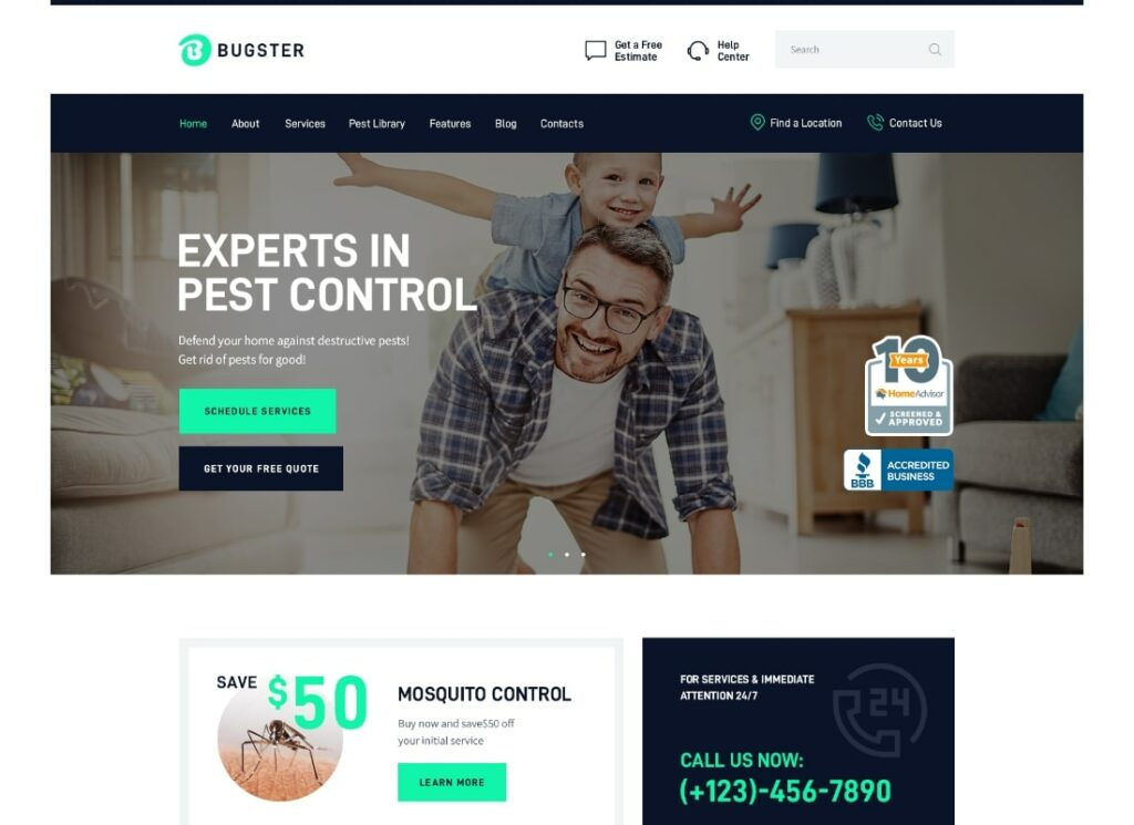 Bugster | Bugs & Pest Control WordPress Theme for Home Services