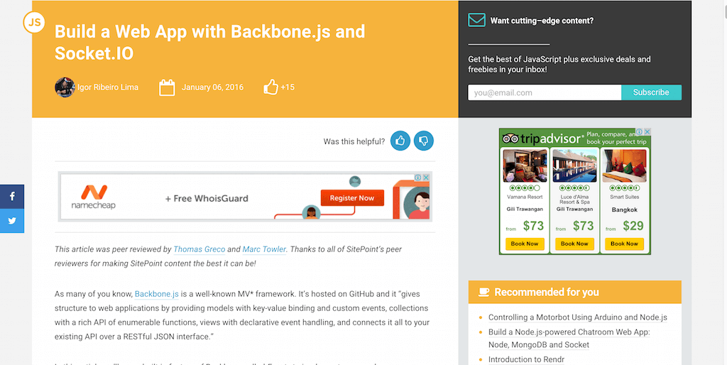 Build a Web App with Backbone.js and Socket.IO
