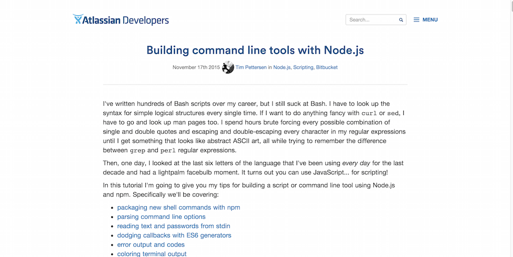 Building command line tools with Node