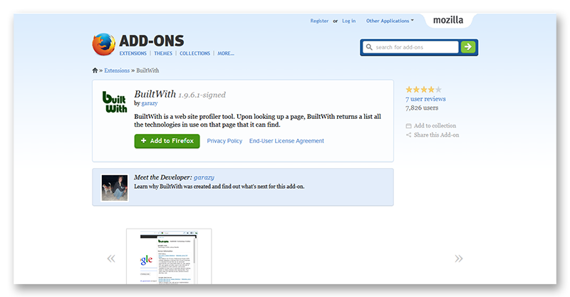 'BuiltWith __ Add-ons for Firefox' - addons_mozilla