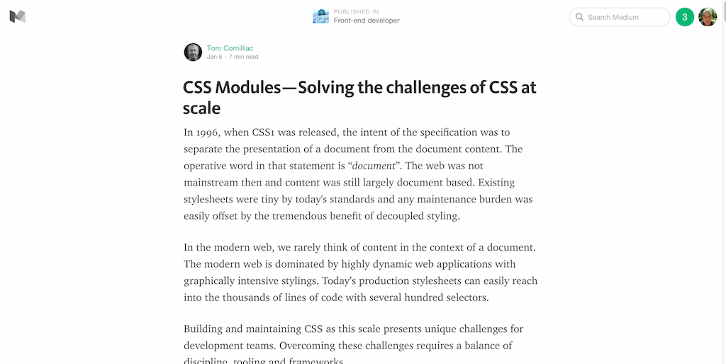 CSS Modules — Solving the challenges of CSS at scale — Front end developer — Medium