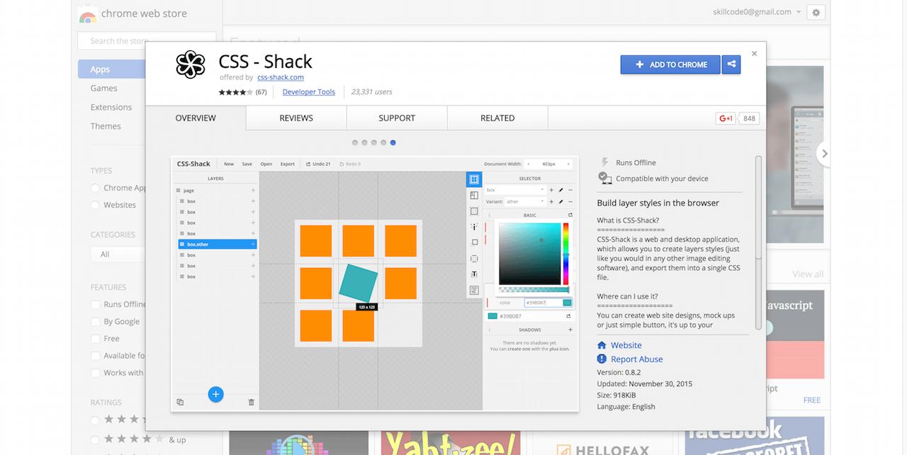 CSS Shack Chrome Web Store