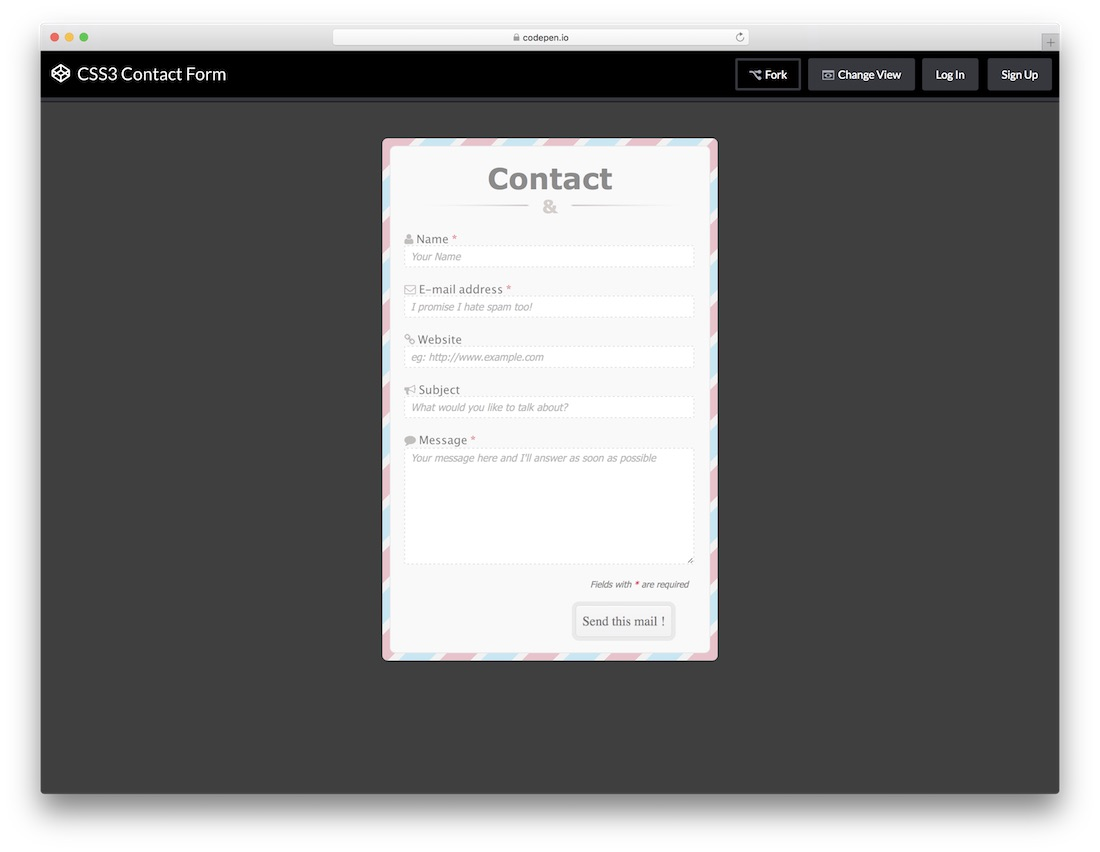CSS3 Contact Form template
