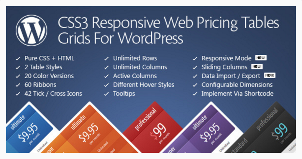 CSS3 Responsive WordPress Compare Pricing Tables WordPress