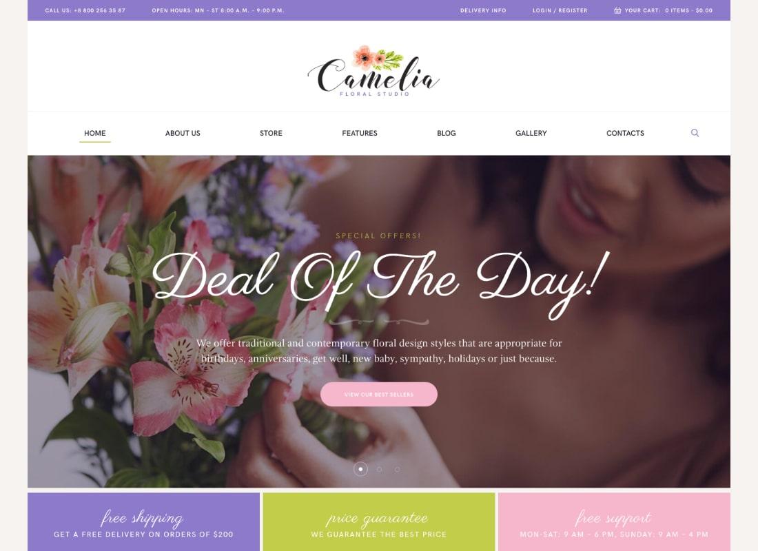 Camelia | A Floral Studio Florist WordPress Theme