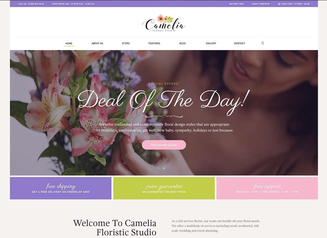 Camelia - A Floral Studio Florist WordPress Theme