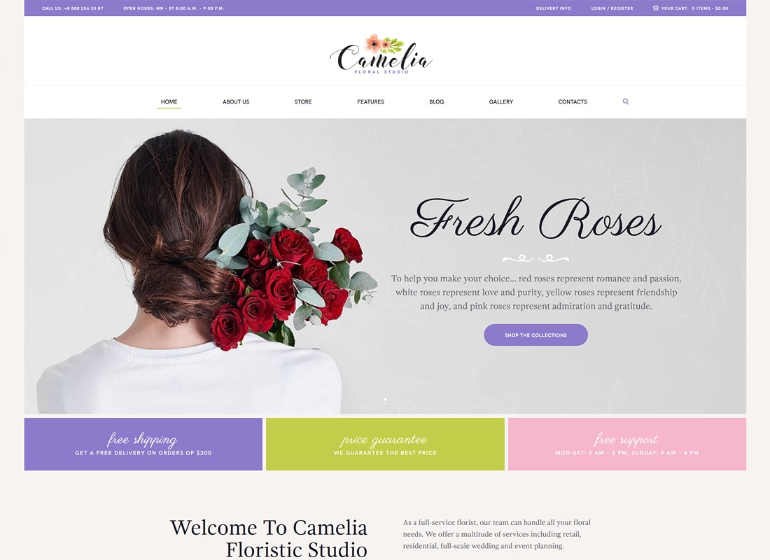 Camelia | A Floral Studio Florist Luxury WordPress Theme