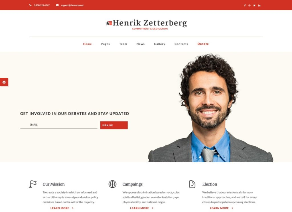 Candidate | Political / Non-profit WordPress Theme