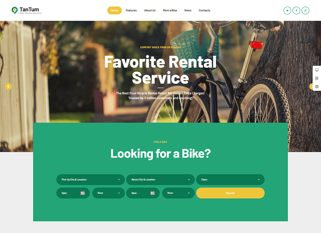 TanTum | Car & Scooter Rental Services WordPress Theme