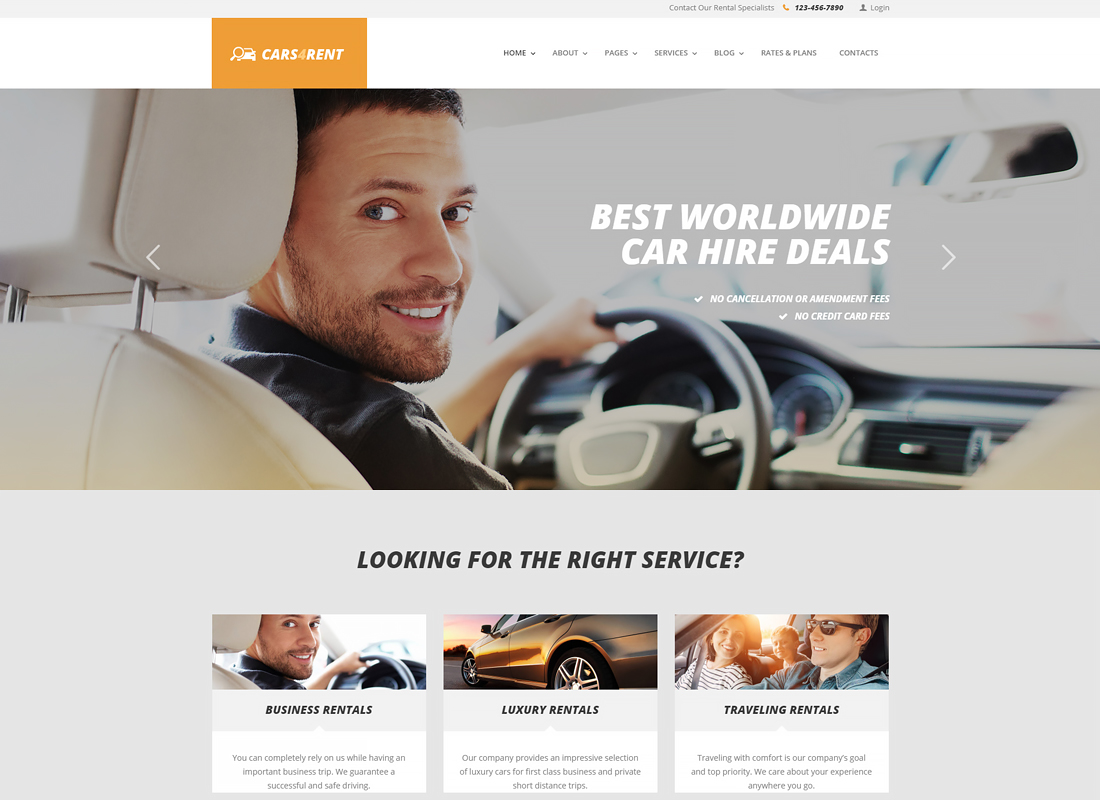Cars4Rent - Car Rental & Taxi Service WordPress Theme