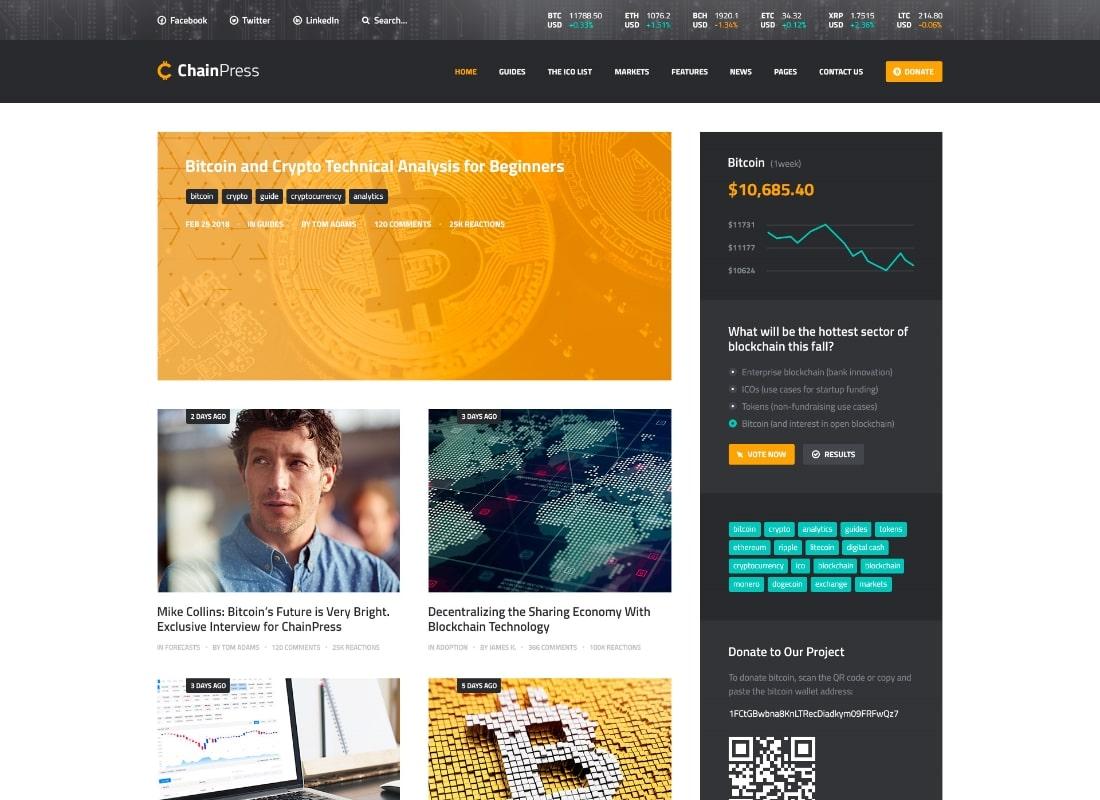 ChainPress | Financial Business Blog PSD Template