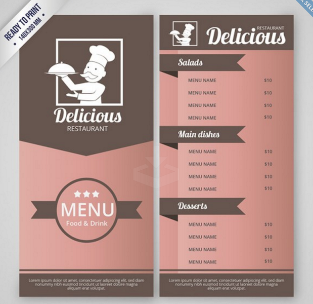 Takeout Menu Template from colorlib.com