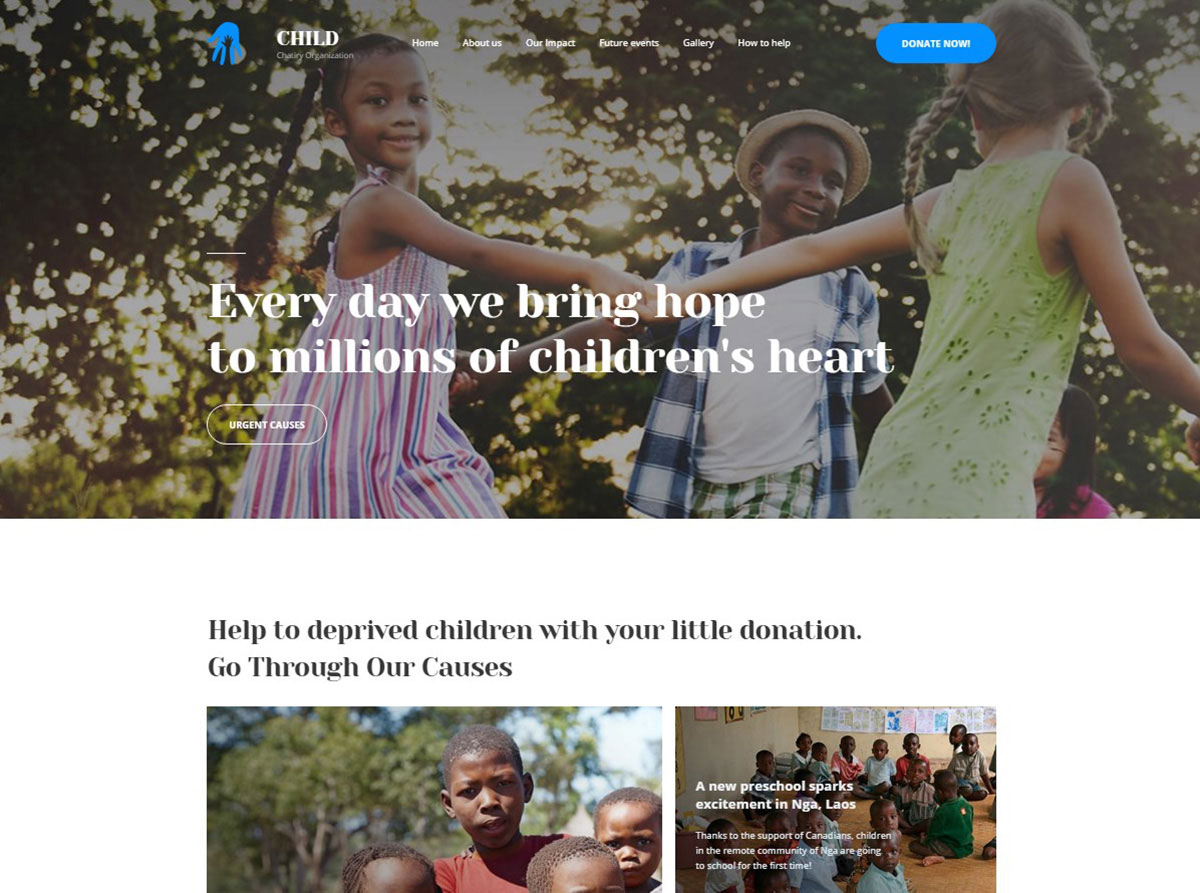 Child Charity Organization NGO Website Template image