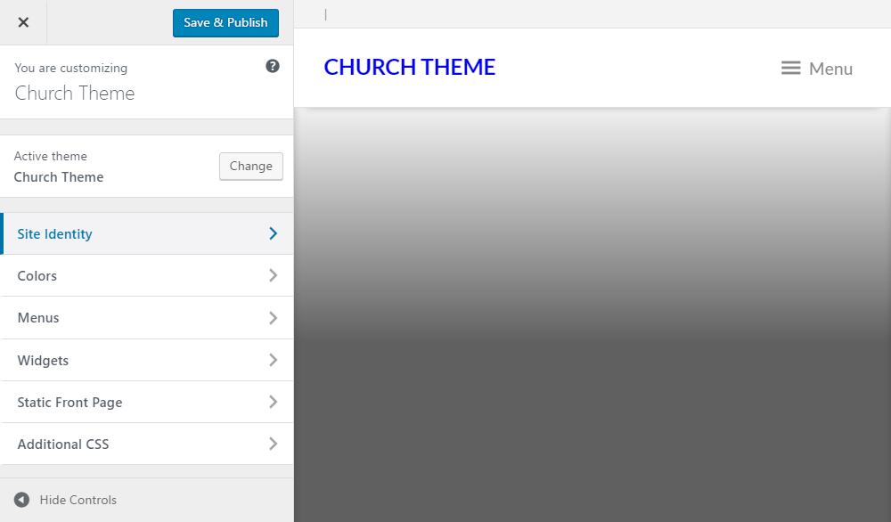 Church Theme Review Customizer