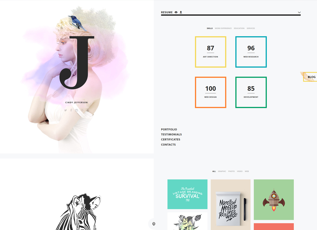 Cindy J | Personal Creative Portfolio, Blog and CV WordPress Theme