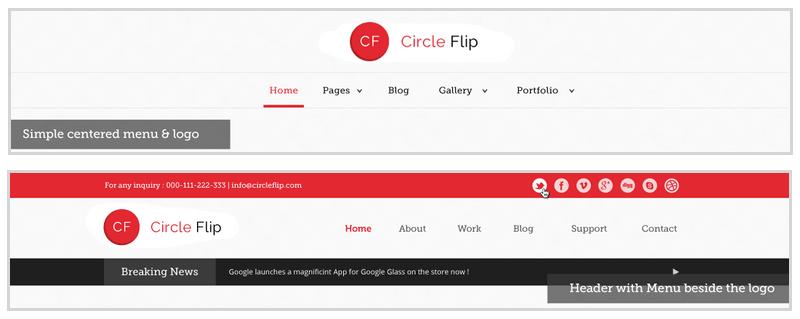 Circle Flip Header Options Control Panel