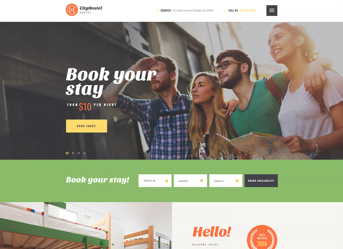 City Hostel - A Travel & Hotel Booking WordPress Theme