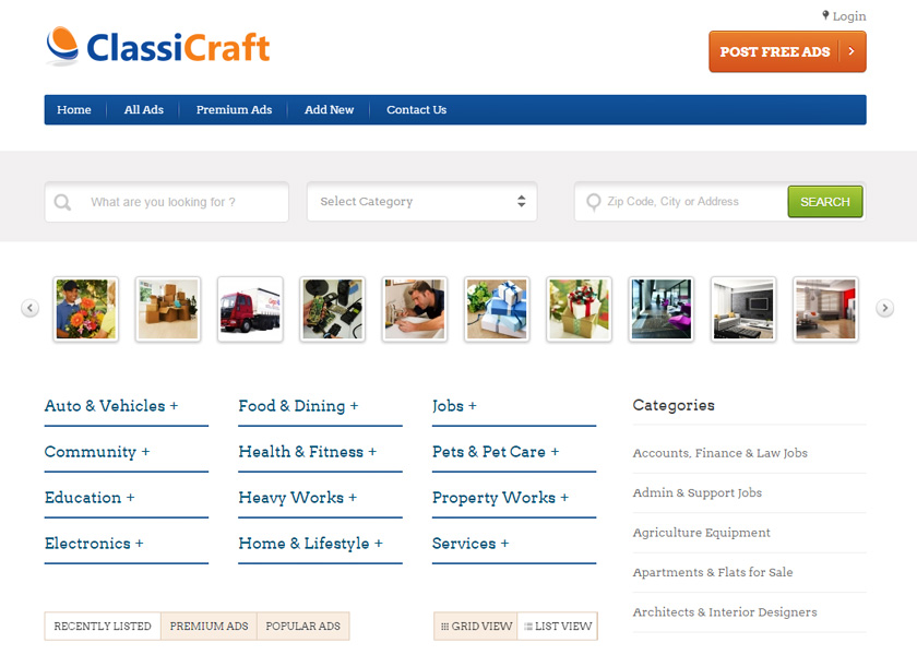 Classified Ads Listing WordPress Theme