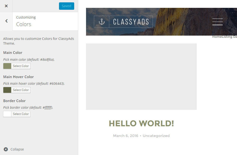 ClassyAds WordPress Theme Review Customizer Colors