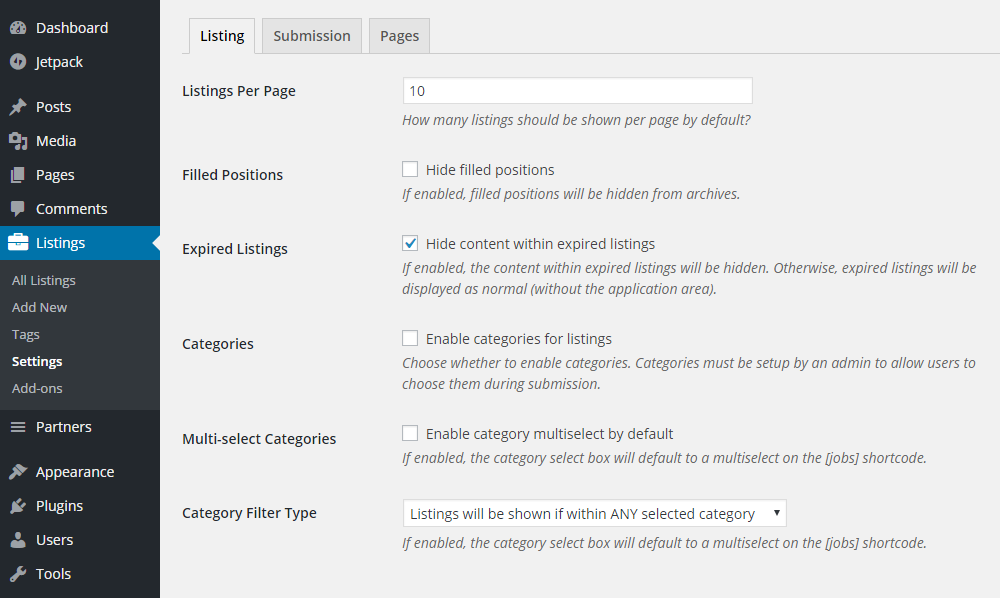 ClassyAds WordPress Theme Review Listings Settings