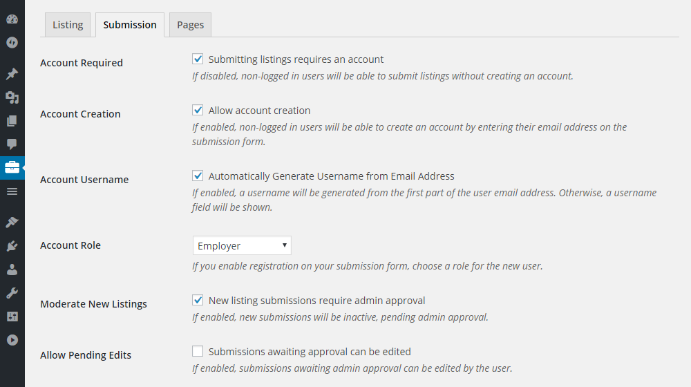 ClassyAds WordPress Theme Review Submission Settings