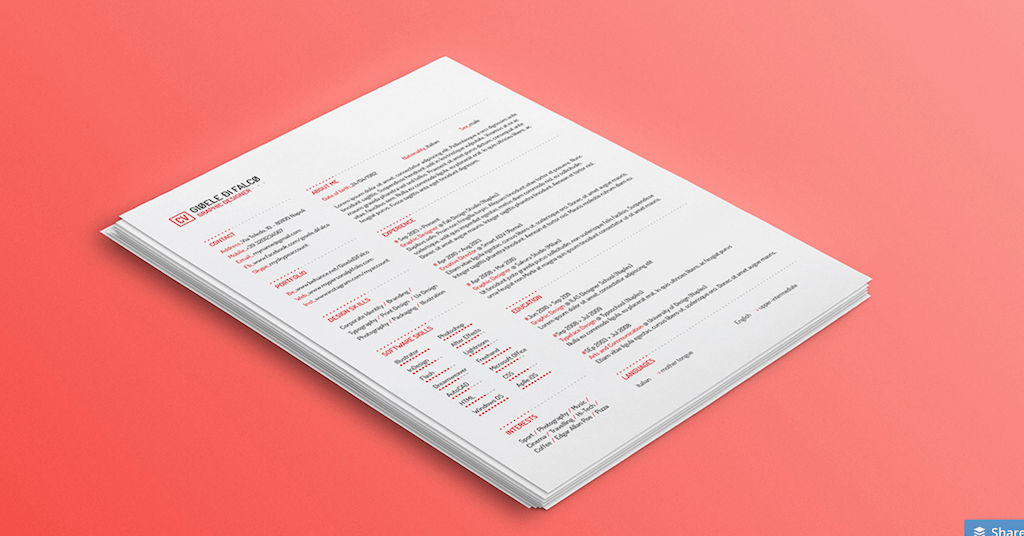 Clean Resume Template by Gioele Di Falco