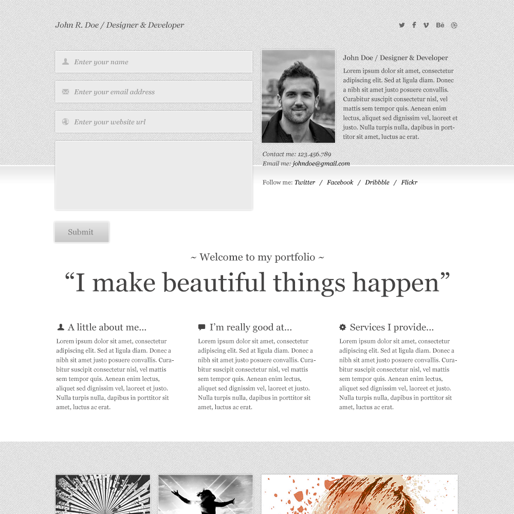 Free Clean Porfolio PSD template
