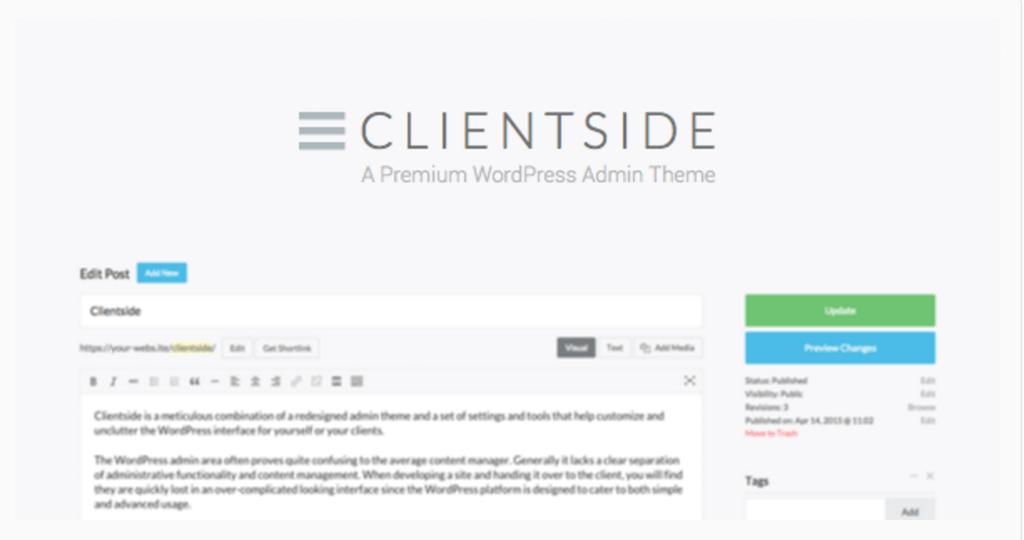 Clientside WordPress Admin Theme WordPress CodeCanyon