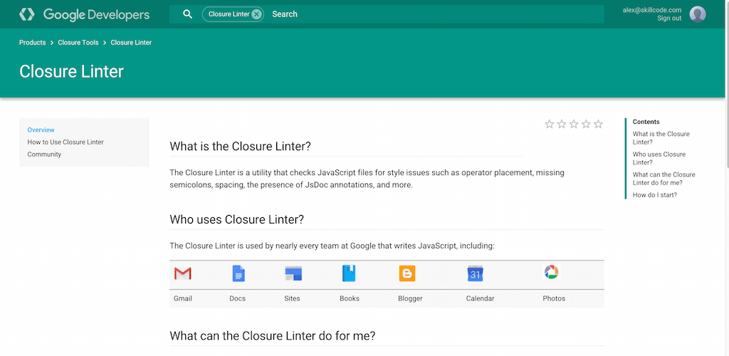 Closure Linter     Google Developers