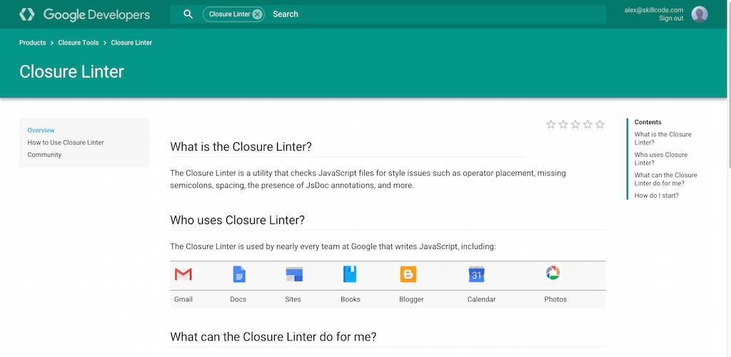 Closure Linter   Google Developers