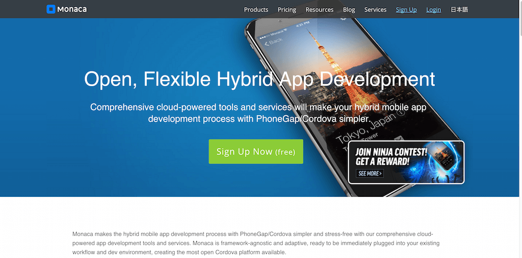 Cloud Powered HTML5 Hybrid Mobile App Development Tools Monaca