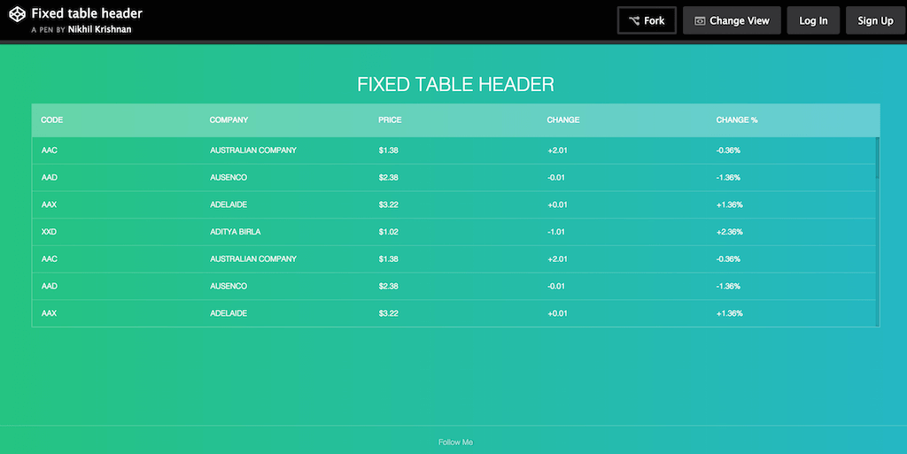 Table css styles download for Table fixed header