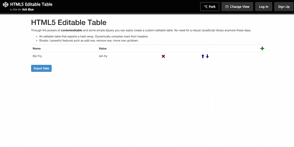 CodePen HTML5 Editable Table