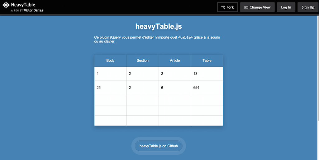 CodePen HeavyTable