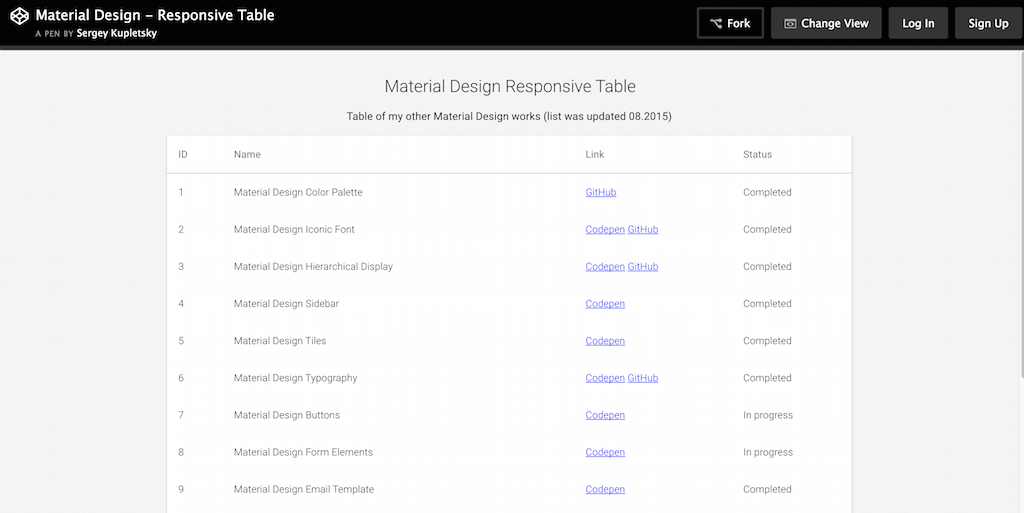CodePen Material Design Responsive Table