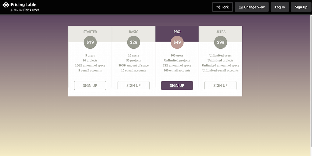 CodePen Pricing table