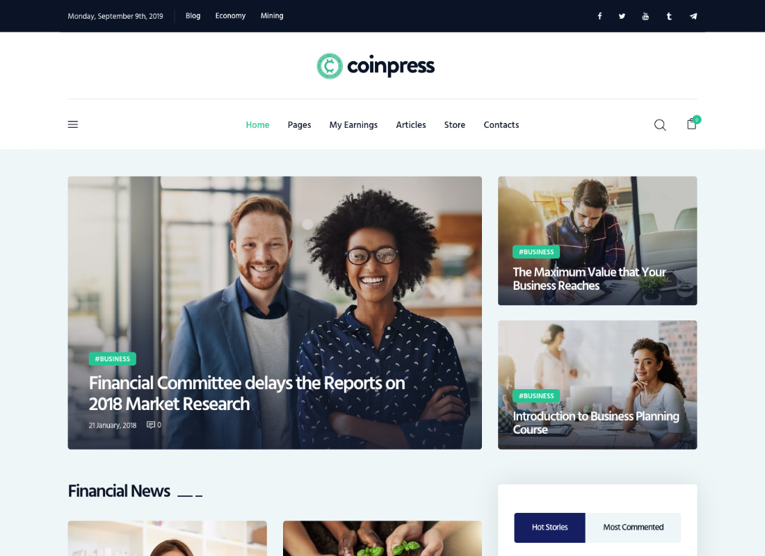 Coinpress | Cryptocurrency Magazine & Blog WordPress Theme