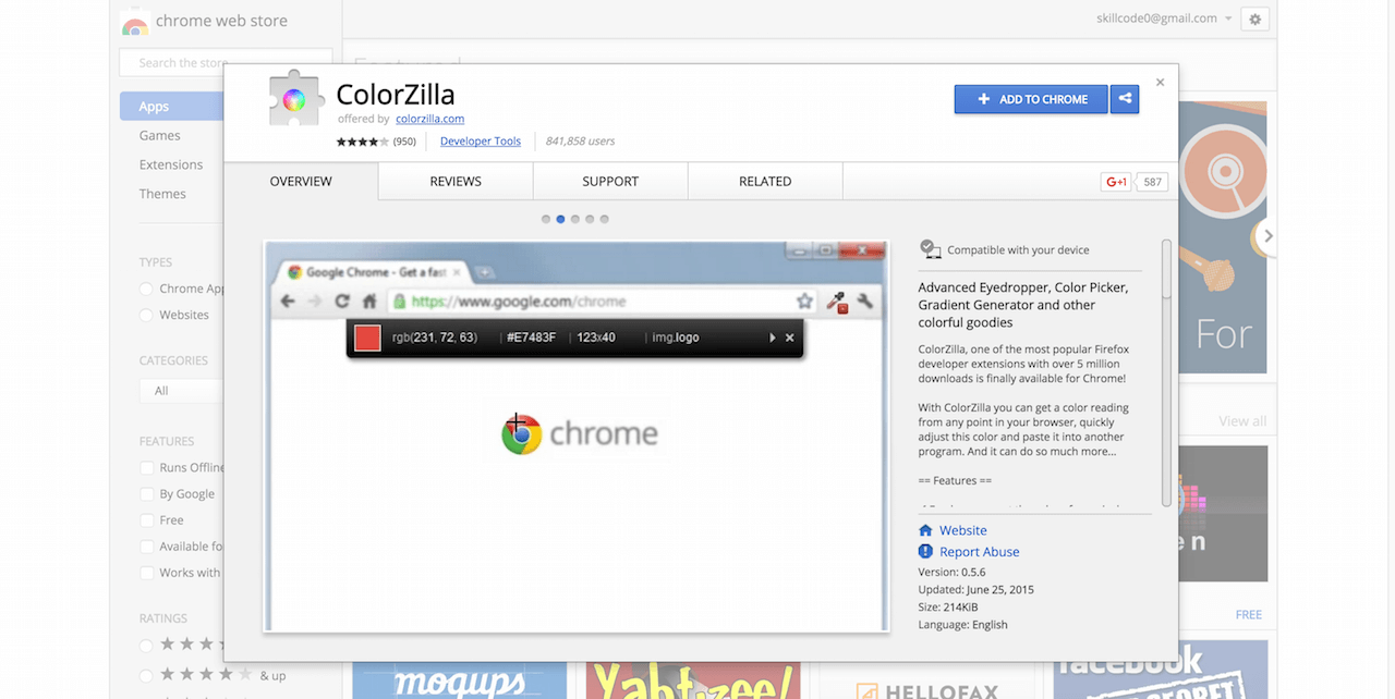 ColorZilla Chrome Web Store