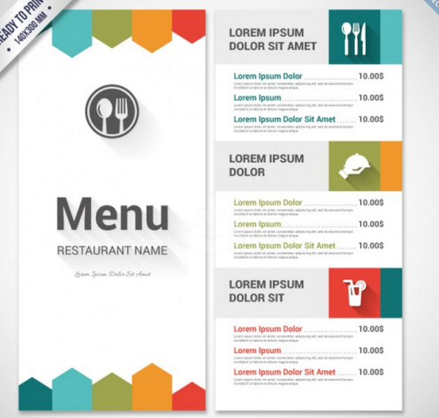 colorful menu template - Free Menu Templates Download