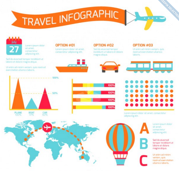 Colorful Travel Infographic with Transport Elements
