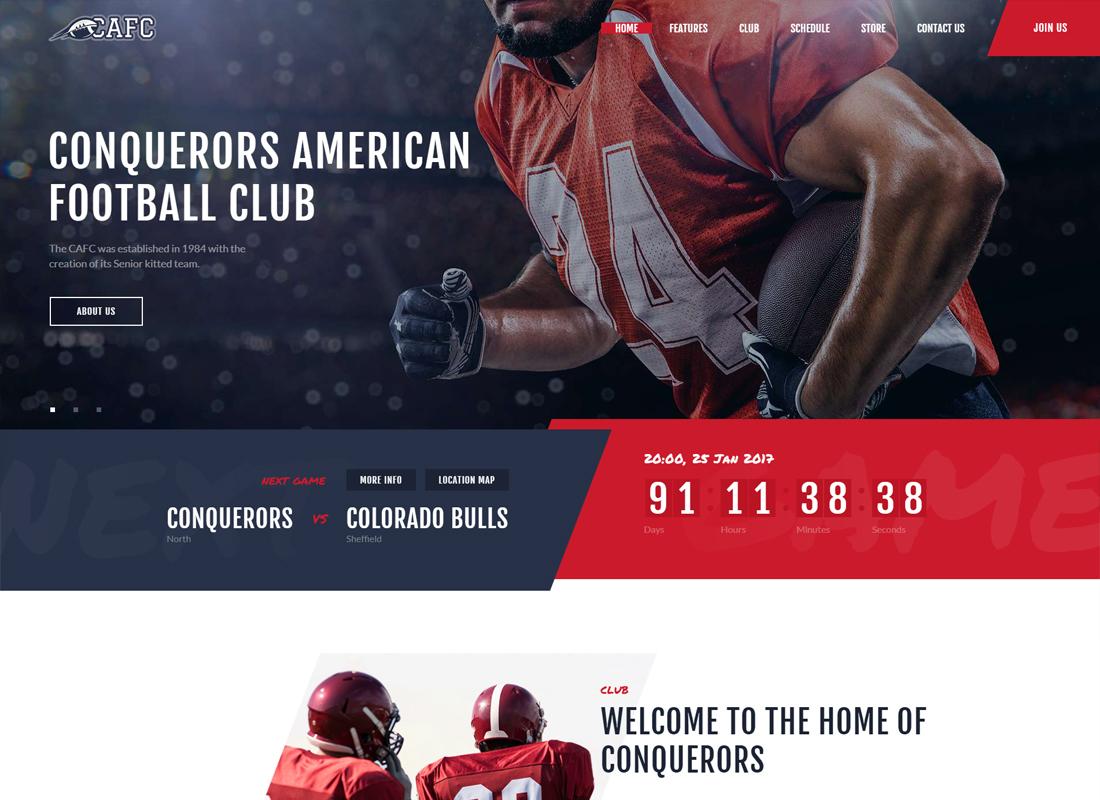 Conquerors | American Football Club WordPress Theme