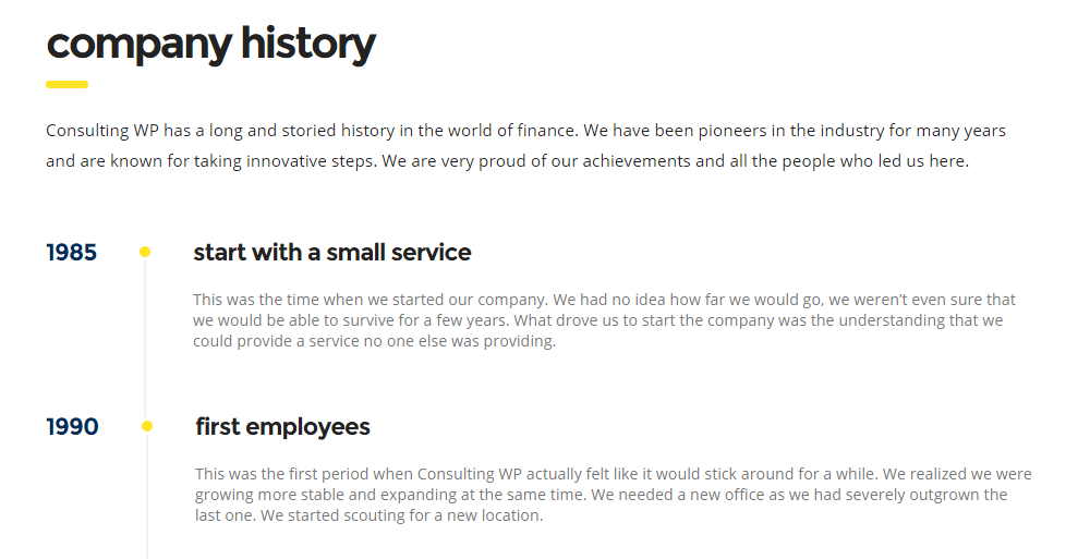 Consulting WordPress Theme Review - Comany History
