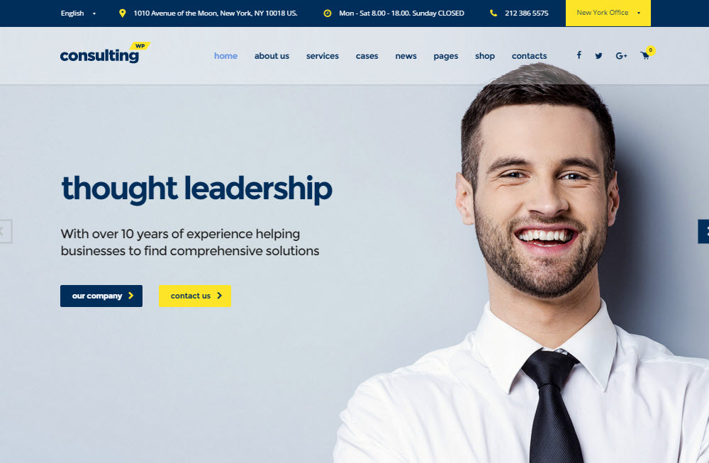 Consulting WordPress Theme Review - HomePage