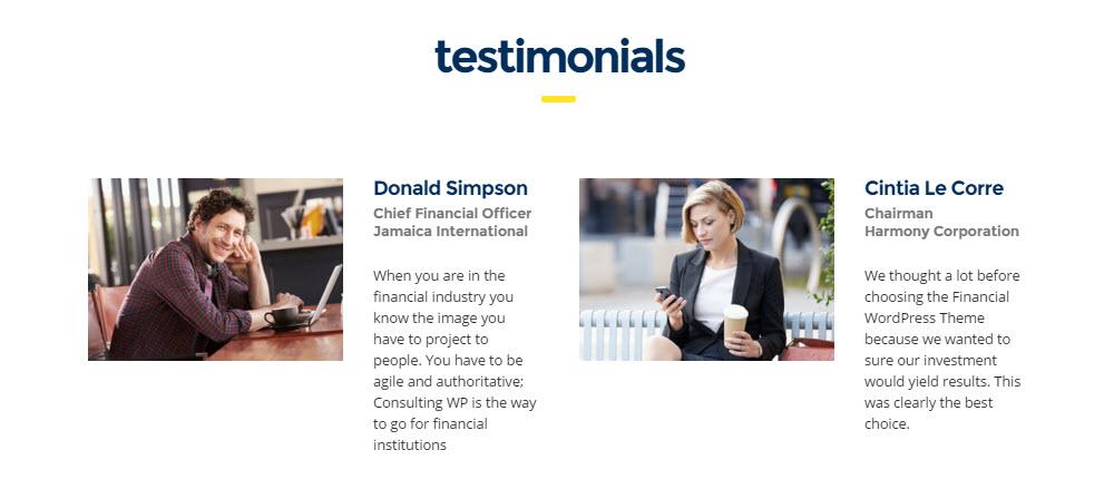 Consulting WordPress Theme Review - Testimonials