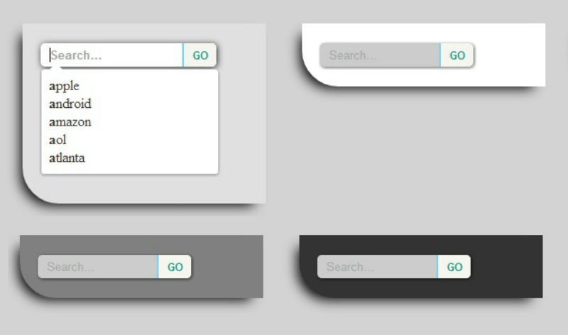 Cool CSS3 SearchBox with On-focus SuggestionBox