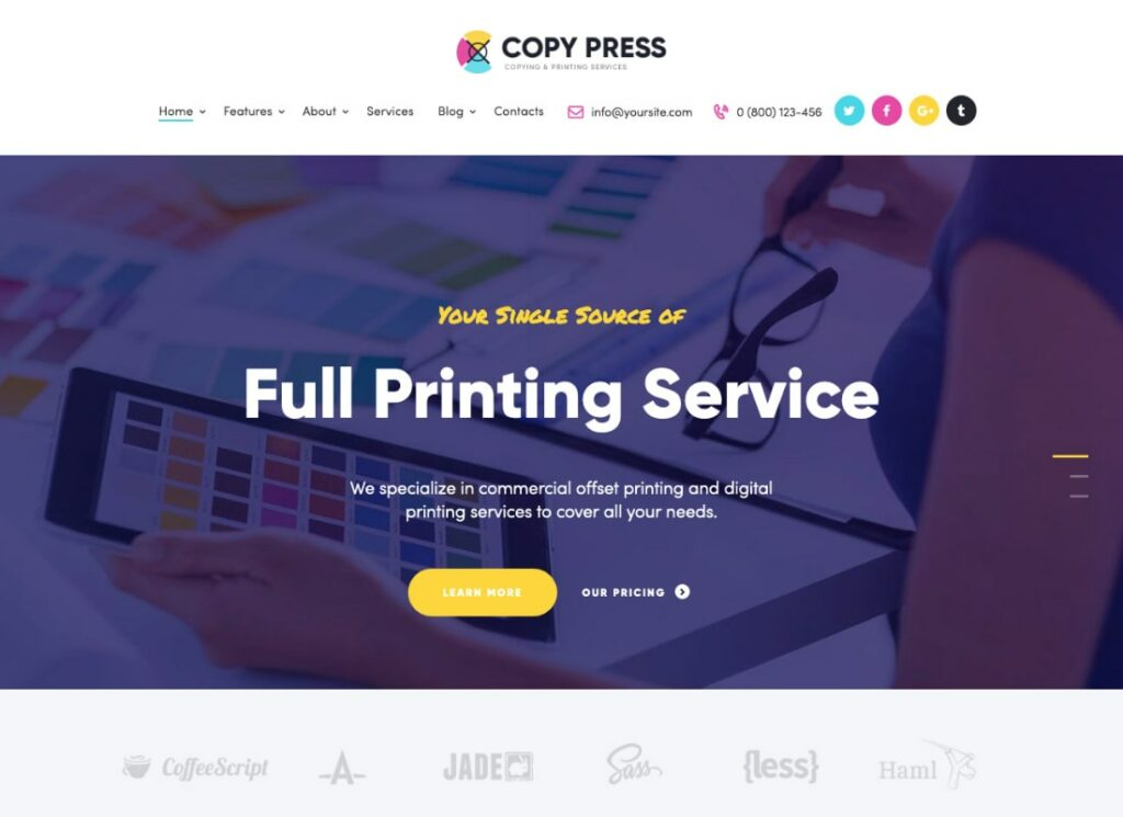 CopyPress   Type Design & Printing Services HTML Template