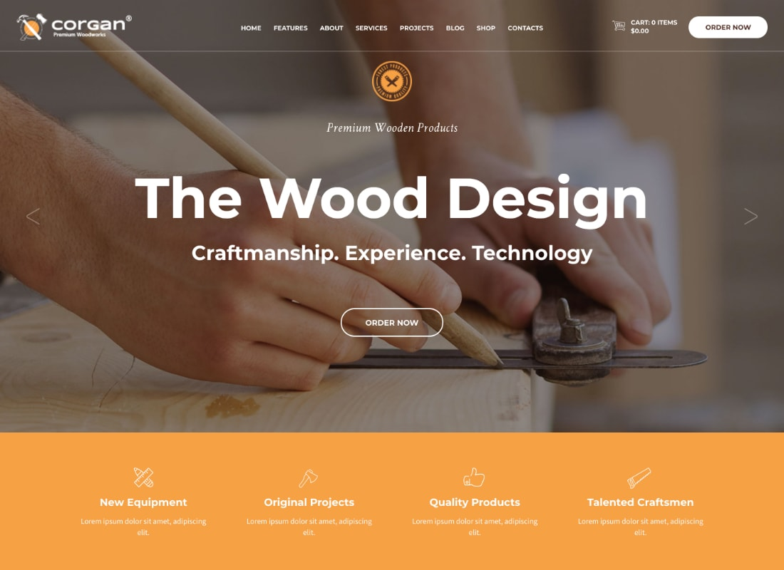 Corgan | Woodworks and Carpentry WordPress Theme