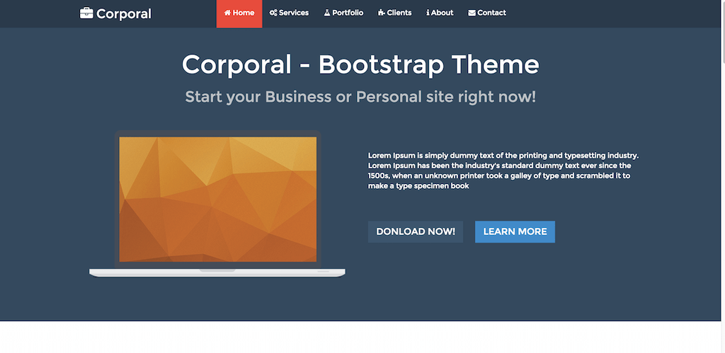 Corporal Bootstrap Personal Business Theme
